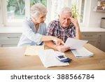 worried senior couple checking... | Shutterstock . vector #388566784