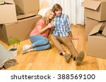 cute couple sitting on the... | Shutterstock . vector #388569100