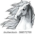 Stock vector vector illustration of a horse head with mane flowing in the wind 388572700