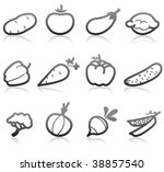 food icons  vegetable    part 2 | Shutterstock .eps vector #38857540