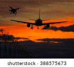 drone flying near commercial... | Shutterstock . vector #388575673