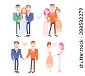 gay and lesbian couples getting ... | Shutterstock .eps vector #388582279