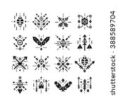 hand drawn tribal patterns with ... | Shutterstock .eps vector #388589704