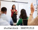 teacher with tablet and... | Shutterstock . vector #388591513