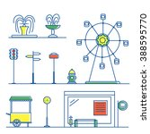 vector linear city landscape... | Shutterstock .eps vector #388595770