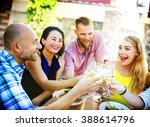 diverse people friends hanging... | Shutterstock . vector #388614796