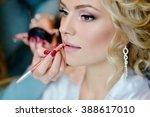 wedding makeup artist making a... | Shutterstock . vector #388617010