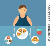 man at the table eating fast... | Shutterstock .eps vector #388627090