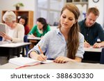 young woman studying at an... | Shutterstock . vector #388630330