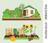 gardening set. vector... | Shutterstock .eps vector #388631566