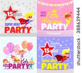 set with kids party invitation... | Shutterstock .eps vector #388639444