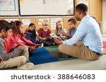 elementary school class sitting ... | Shutterstock . vector #388646083