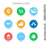 camping icons. summer camp site ... | Shutterstock .eps vector #388648054