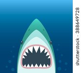 shark with open mouth.  flat... | Shutterstock .eps vector #388649728