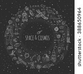 hand drawn doodle space and... | Shutterstock .eps vector #388650964