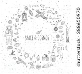 hand drawn doodle space and... | Shutterstock .eps vector #388650970