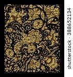 doodle golden metallic floral... | Shutterstock .eps vector #388652134