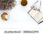 tea  croissant   glasses  ... | Shutterstock . vector #388662394