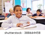 boy with tablet in elementary... | Shutterstock . vector #388664458