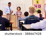 schoolgirl presenting to her... | Shutterstock . vector #388667428