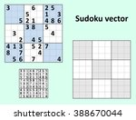 symmetrical sudoku with answers.... | Shutterstock .eps vector #388670044