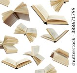 Many Flying Books As Backgroun...