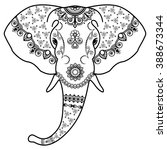 elephant's head in mehndi... | Shutterstock .eps vector #388673344
