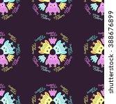 seamless owl pattern pastel ... | Shutterstock .eps vector #388676899