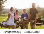 group of golfers walking along... | Shutterstock . vector #388680880