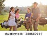 group of golfers walking along... | Shutterstock . vector #388680964