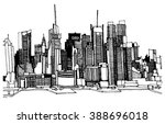 panorama city illustration.... | Shutterstock .eps vector #388696018