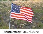 American Flag Rippling Against...