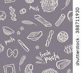 seamless fresh pasta pattern | Shutterstock .eps vector #388711930