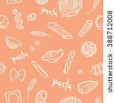 seamless pasta types pattern | Shutterstock .eps vector #388712008