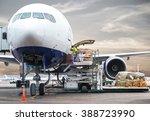 loading cargo on plane in... | Shutterstock . vector #388723990