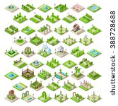 isometric city park furniture.... | Shutterstock . vector #388728688