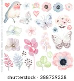 Stock vector collection vector flowers robin bird butterflies branches and leaves in vintage watercolor style 388729228