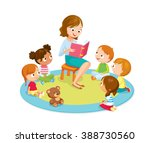 teacher reading for kids in the ... | Shutterstock .eps vector #388730560