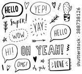 hand written hello  love  wow ... | Shutterstock .eps vector #388738126