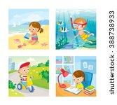 children with summer background ... | Shutterstock .eps vector #388738933