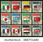 set of stamps with a travel... | Shutterstock .eps vector #388751680