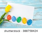 easter background with eggs ... | Shutterstock . vector #388758424