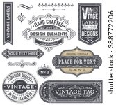 Stock vector vintage style frames labels and banners with removable distressed texture 388772206