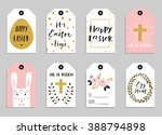 easter gift tags with cute... | Shutterstock .eps vector #388794898