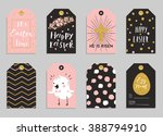 easter gift tags with cute... | Shutterstock .eps vector #388794910