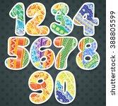 zentangle numbers set.... | Shutterstock . vector #388805599