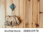 Used Tea Bags Drying On The Wall
