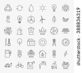 ecology line art design icons...