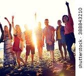 teenagers friends beach party... | Shutterstock . vector #388843210