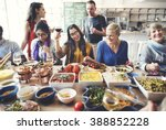 friends party buffet enjoying... | Shutterstock . vector #388852228